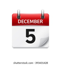 December  5. Vector flat daily calendar icon. Date and time, day, month. Holiday.