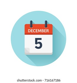 December 5. Vector flat daily calendar icon. Date and time, day, month 2018. Holiday. Season.