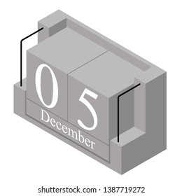 December 5th date on a single day calendar. Gray wood block calendar present date 5 and month December isolated on white background. Holiday. Season. Vector isometric illustration