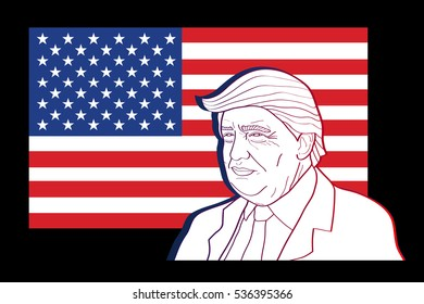 December 6, 2016: New 45th President of United States. Caricature portrait of Donald John Trump. Vector illustration. Editorial use only