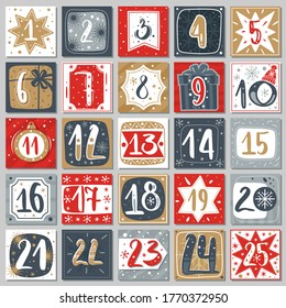 December advent calendar. Christmas poster countdown printable tags numbered poster with xmas ornament red blue and gold colors, winter postcard vector creative template