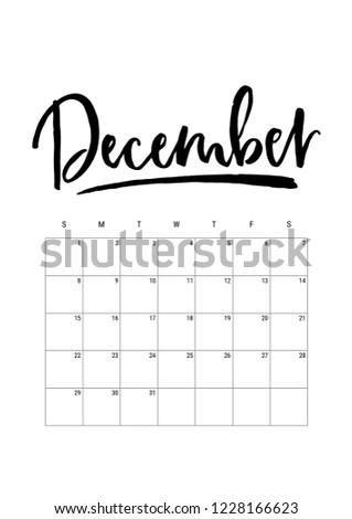 December Calendar Planner 2019 Week Starts Stock Vector Royalty