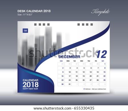 december desk calendar 2018 template flyer のベクター画像素材