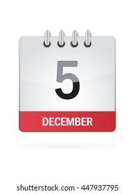 December Five. Calendar Icon