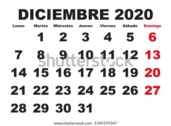 Calendario 2020 Portugues Com Feriados.Vector De Stock Libre De Regalias Sobre December Month