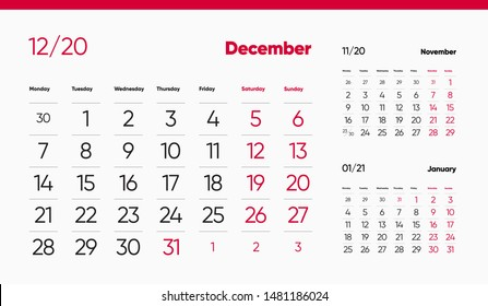 DECEMBER PAGE. 12 Months Premium 2020 Calendar Design Grid Set. Table, Wall, Desk, Quarter Diary Calendar 2020 Year Design. Clean and Minimal Diary Planner Design Layout.