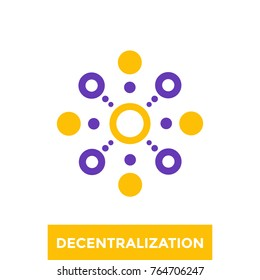 decentralization vector icon, logo
