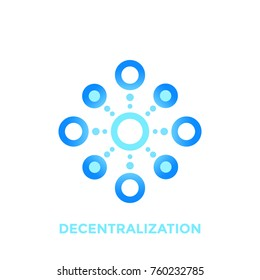 decentralization vector icon, logo element on white