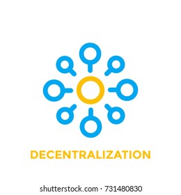 decentralization vector icon on white