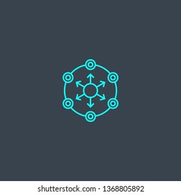 decentralized concept blue line icon. Simple thin element on dark background. decentralized concept outline symbol design. Can be used for web and mobile UI/UX