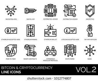Decentralized, digital key, distributed ledger, encrypted, ethereum & litecoin, mining, wallet, bitcoin, peer to peer, smart contracts, consensus modular protocol, white paper, node line vector icons