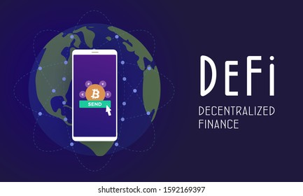 Decentralized finance (DeFi) - open-source community of projects, using blockchain, that develops solutions in decentralized financial system. Flat vector illustration DeFi fintech isolated concept