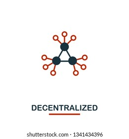 Decentralized icon. Creative two colors design from crypto currency icons collection. Simple pictogram decentralized icon for web design, apps, software, print usage
