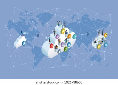 Decentralized Network and Cloud Computing. Professional workers working in the cloud. Network ans world map background. Vector illustration.