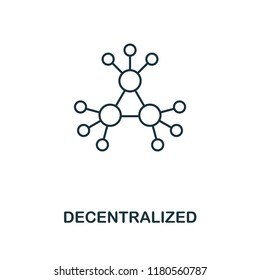 Decentralized outline icon. Monochrome style design from crypto currency collection. UI. Pixel perfect simple pictogram outline decentralized icon. Web design, apps, software, print usage.