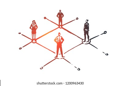Decentralized, people, connected, element, structure concept. Hand drawn people separated concept sketch. Isolated vector illustration.