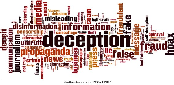 Deception word cloud concept. Vector illustration