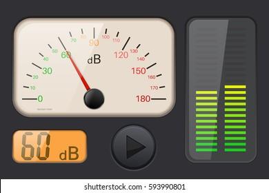 Decibel gauge. Vector 3d illustration