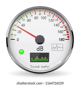 Decibel gauge. Volume unit on low level. Glass gauge with chrome frame. Vector 3d illustration isolated on white background