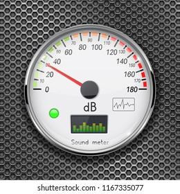 Decibel gauge. Volume unit on low level. Glass gauge with chrome frame on metal perforated background. Vector 3d illustration