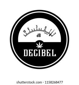 Decibel meter logo icon vector.Cannabis.marijuana.