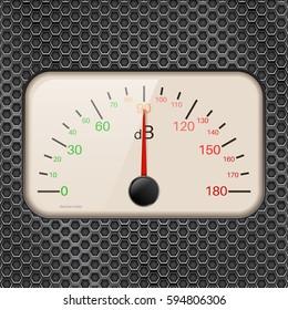 Decibel meter on metal perforated background. Vector illustration