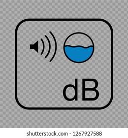 Decibels icon on transparent background. Vector.