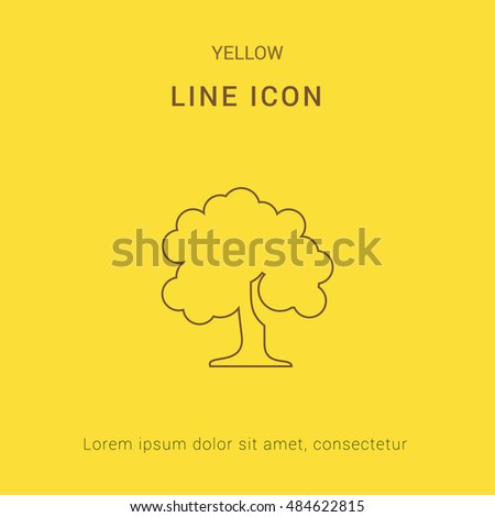 be7ea9c8add72 Deciduous Tree Cute Yellow Thin Line Stock Vector (Royalty Free ...