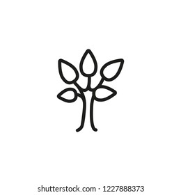 Deciduous tree line icon. Plant, sprout, botany. Nature concept. Vector illustration can be used for topics like gardening, ecosystem, life