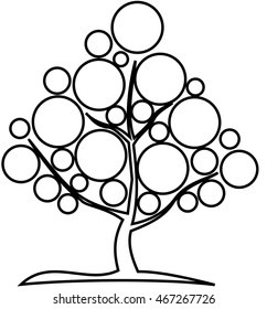 deciduous tree, vector, contour deciduous tree ,