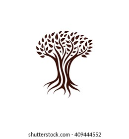 Deciduous tree vector illustration. Amenity forest leaves isolated icon, logo.