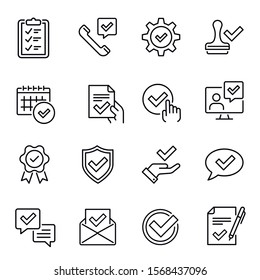 Decision approved with check marks linear icons set. Document confirmation thin line symbols. List with checkboxes, settings approval tick sign, quality badge isolated vector outline illustrations