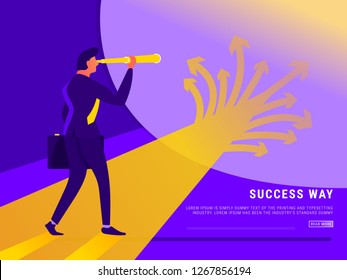 Decision. A businessman looks at arrows pointing to many directions. Concept business vector