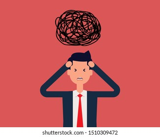 Decision complicated and chaotic ideas. Vector illustration strategy concept, Flat cartoon character design.