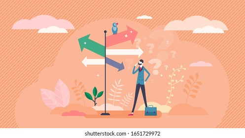 Decision crossroads concept, flat tiny businessman person vector illustration. Direction pointing road sign arrows. Choosing the way confusion. Figuring out the best opportunity path for the success.