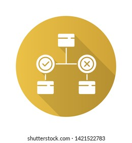 Decision diagram flat design long shadow glyph icon. Block chart. Problem solutions. Operations research. Decision tree. Management. Information symbolic representation. Vector silhouette illustration