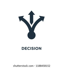 Decision icon. Black filled vector illustration. Decision symbol on white background. Can be used in web and mobile.