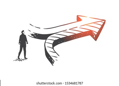 Decision making, achieving results concept sketch. Hand drawn isolated vector