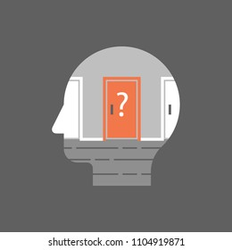 Decision making concept, choose a door, difficult choice, moral dilemma, vector illustration