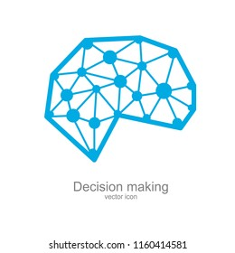 Decision making, creative thinking, positive mindset, rational decision making, behavior science, social skills, human brain, psychology and neuroscience positive attitude, vector icon illustration