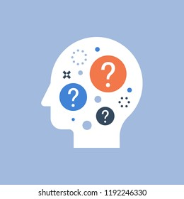 Decision making, difficult choice, behavior science, self questioning, brainstorm and curiosity concept, neurology, vector icon, flat illustration