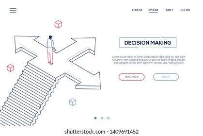 Decision making - line design style isometric web banner on white background with copy space for your text. Quality website header with businessman standing on the crossroads, trying to make choice