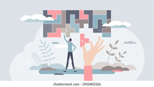 Decision making and logical thinking in difficult tasks tiny person concept. Find solution or business strategy to solve complex situations vector illustration. Problem management with analysis skills