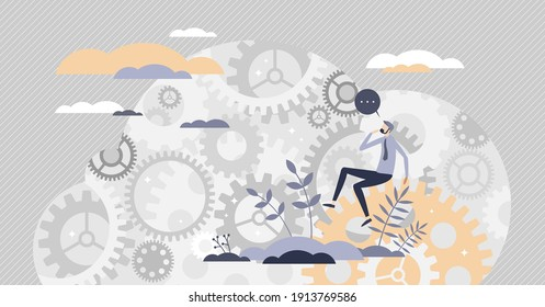 Decision making mind about complex and difficult process tiny person concept. Challenge solving, research and analysis as gear system in head vector illustration. Symbolic question progress mechanism.