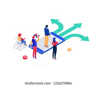 Decision making - modern colorful isometric vector illustration on white background. Image of male, female colleagues, business team standing on the crossroads, trying to choose the best solution