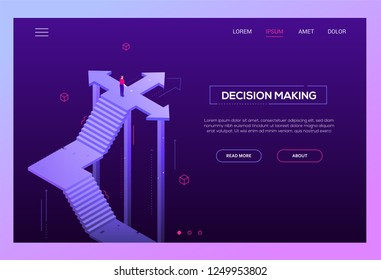 Decision making - modern isometric vector website header on purple background with copy space for your text. High quality banner with businessman standing on the crossroads, trying to make choice