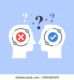 Decision making, opinion poll, bias and mindset, negotiation and persuasion, argumentation dialog, two heads, psychology or sociology, vector flat illustration