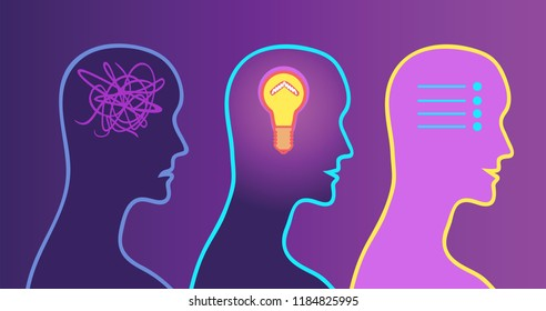 Decision making process. Problem solved. Shining lamp inside human head. To-do list in the head and chaos in the head. Vector illustration.