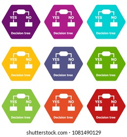 Decision tree icons 9 set coloful isolated on white for web