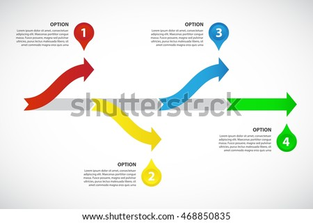 decision tree timeline vector infographic template consisting of 4 bright arrows